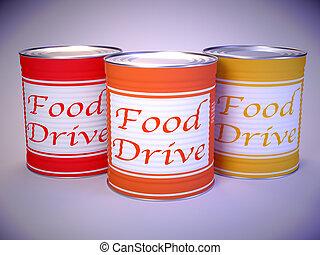 orange, conduire, mots, boîtes, trois, nourriture, jaune, blanc rouge