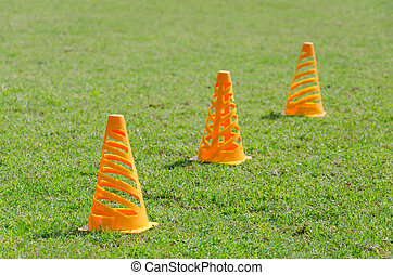Orange cone markers on the green grass
