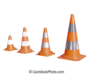 Orange cones isolated