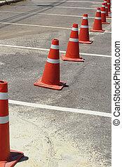 Orange cones.