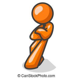 orange, confiant, homme, penchant