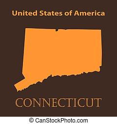 Orange Connecticut map - vector illustration.