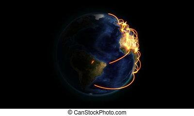 orange, connexion, la terre, ombragé