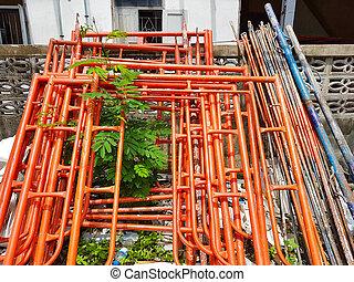 orange, construction, échafaudage, chantier