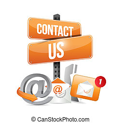 orange contact us sign and icons illustration design over a ...