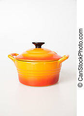 Orange cooking pot with lid