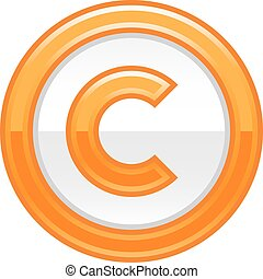 Orange Copyright Symbol Sign Glossy Icon