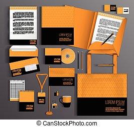 Orange corporate identity template design