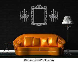 Orange couch, table and standard lamp in black minimalist interior