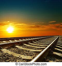 orange, coucher soleil, sur, chemin fer