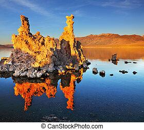 orange, coucher soleil, sur, lac mono