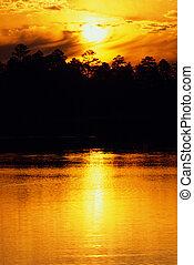 orange, coucher soleil, sur, lac