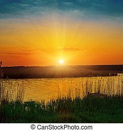 orange, coucher soleil, sur, rivière