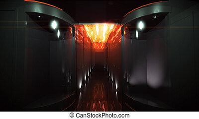 orange, couloir, espace