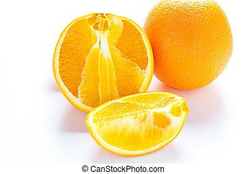 orange, coupure, entier