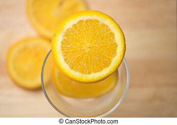 orange, coupure, juteux, moitié
