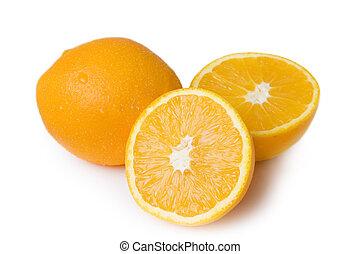 orange, coupure, moitié