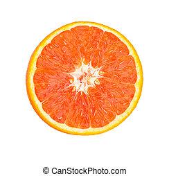 orange, coupure, rouges, moitié