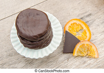 orange, couvert, chocolat, confit, tranches
