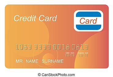 orange, crédit, vecteur, carte