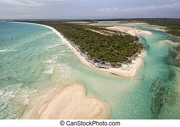 Aerial view of the Orange Creek area with forested peninsula on Cat Island, Bahamas