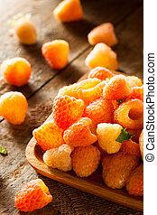 orange, cru, soleil, organique, framboises