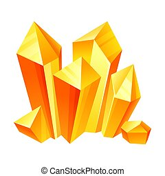 Orange crystals. Vector illustration on a white background.