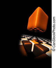 Orange cube above other cubes with a black background