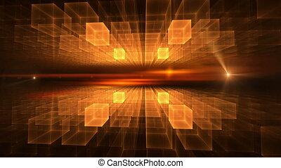 Orange Cubic Geometrical Horizon with Flare
