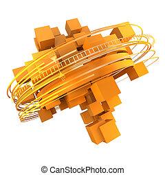 Orange cubic rotation - 3D rendering of a group of orange...