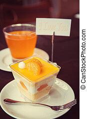 Orange cupcake with I LOVE YOU massage