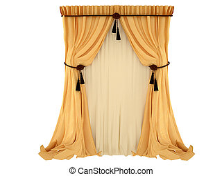 orange curtain, isolated on a white background