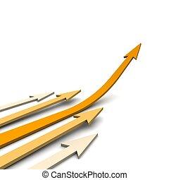 Orange curved arrows. 3d rendered illustration.
