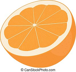 Orange cut in half. Citrus isolated on white background