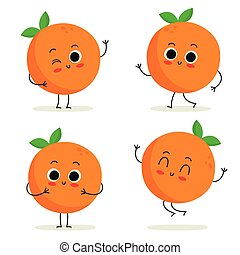 Orange. Cute fruit character set isolated on white