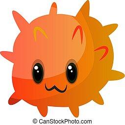 Orange cute monster illustration vector on white background Print