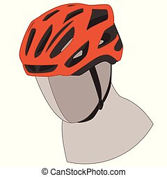 orange cycling helmet isolated on a white background