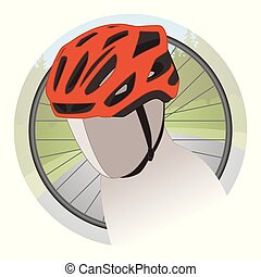 orange cycling helmet with bicycle wheel and scenery in...