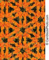 Photo-graphic image of an orange Dahlia against green foliage.