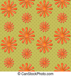 orange daisy seamless background on green