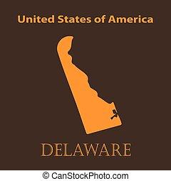 Orange Delaware map - vector illustration.