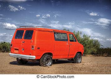 Orange Derelict Van