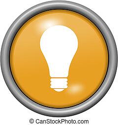 Orange design light bulb in round 3D button