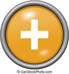 Orange design plus in round 3D button