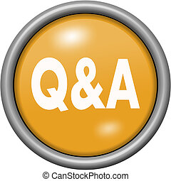 Orange design Q and A in round 3D button