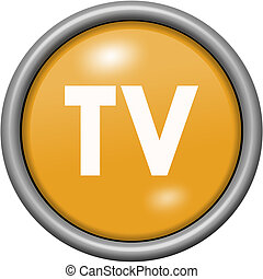 Orange design TV in round 3D button