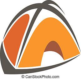 orange, dessin animé, tente