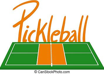 orange, dessiner, tribunal, pickleball, vert