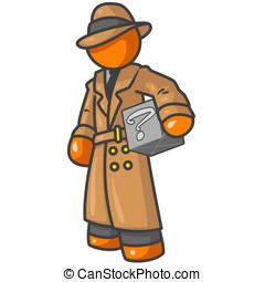 Orange Detective with Box - An orange man detective holding...