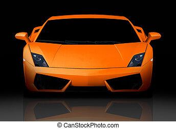 orange, devant, vue., supercar.